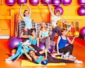 Women in aerobics class group Royalty Free Stock Images