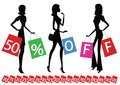 Women with bags shopping Royalty Free Stock Image