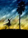 Women ballet dancer silhouette illustration of a sihlouete Royalty Free Stock Images