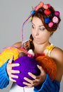 image photo : Women and balls of thread