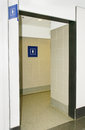 Women bathroom at a public space restroom entrance with signs Royalty Free Stock Images