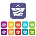 Women beach bag icons set Royalty Free Stock Photo