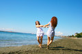 Women on beach two in limassol cyprus Stock Photography
