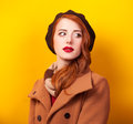 Women in beret Royalty Free Stock Photo