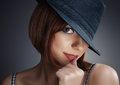Women with black hat and red lips Royalty Free Stock Photo