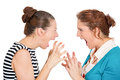 Women blame closeup portrait two mad angry with bad attitudes getting into argument fighting pointing fingers at each other Royalty Free Stock Photography