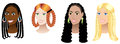 Women with Braids and Plaits Royalty Free Stock Image