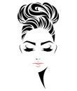 Women bun hair style icon, logo women face on white background