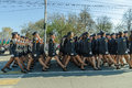 Women-cadets of police academy marching on parade