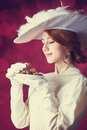 Women with candys beautiful redhead woman Royalty Free Stock Image