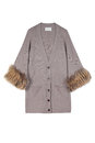 Women cardigan luxury grey or beige decorated with natural fur isolated on white Stock Image
