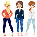 Women casual fashion three beautiful dressed in smart clothing in different poses Royalty Free Stock Images