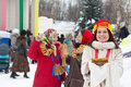 Women celebrating shrovetide happy at russia Royalty Free Stock Photo