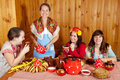 Women celebrating shrovetide in traditional clothes and eats pancake Royalty Free Stock Photos