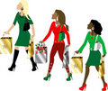 Women Christmas Shopping Royalty Free Stock Photography