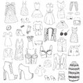 Women clothes and accessories hand drawn Royalty Free Stock Photo