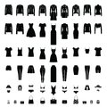 Women Clothes silhouettes Set isolated on white.
