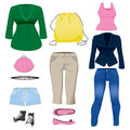 Women clothing collection set of various fashion and accessories for Royalty Free Stock Photos