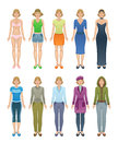 Women clothing set on a white background Stock Images