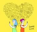 Women couple internet love concept illustration
