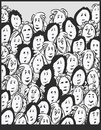 Women crowd cartoon characters illustration Stock Photography