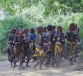 Women dance at bull jumping ceremony turmi omo valley ethiopia of the is a rite of passage into manhood in some tribes Stock Image