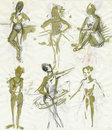 Women dancers 1, drawing Stock Images