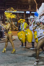 Women Dancers and Candombe Drummers at Carnival Parade of Uruguay Royalty Free Stock Photo