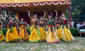 Women dancers performing in holi celebration india kolkata march at festival spring festival is one of the popular festivals known Royalty Free Stock Images