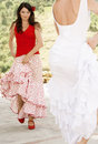 Women dancing flamenco outdoors beautiful young Stock Images