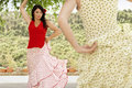 Women dancing flamenco outdoors beautiful young Stock Photography