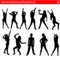 Women dancing silhouette set Stock Photo