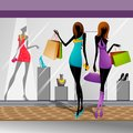 Women doing shopping vector illustration of in mall Stock Images