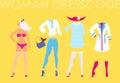 Women dress code romantic style illustration on yellow backgroun