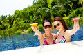 Women with drinks outdoor Royalty Free Stock Image