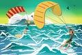 Women drive at kite surfing. Girls windsurfing on water surface