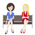 Women envy vector illustration two friend and sad Stock Images