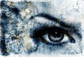 Women eye beaming and bird, blue color painting Royalty Free Stock Photo