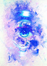 Women eye in light circle and planet earth. Marble effect. Copy space. Royalty Free Stock Photo