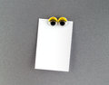Women eyes fridge magnet and blank note Royalty Free Stock Photo