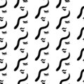 Women face hand drawn line art illustration for seamless pattern