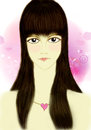 Women face have long hair drawing portrait Royalty Free Stock Photo