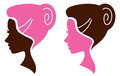 Women facial silhouette set - pink and brown Royalty Free Stock Image