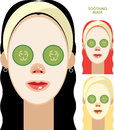 Women with facial soothing mask set of beautiful and cucumber slices on face Stock Photo