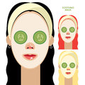 Women with facial soothing mask set of beautiful and cucumber slices on face Royalty Free Stock Photography