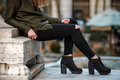 Women fall wear street style with black pants and sweater Royalty Free Stock Images