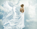 Women Fantasy Flying Gown, Waving Dress Blowing on Wind Royalty Free Stock Photo