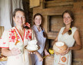 Women with  farm-style meal Royalty Free Stock Photography