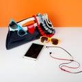 Women Fashion Accessories. Your style - sunglasses, handbag, pho Royalty Free Stock Photo