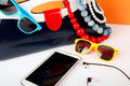 Women Fashion Accessories. Your style - sunglasses, handbag, pho Royalty Free Stock Photo